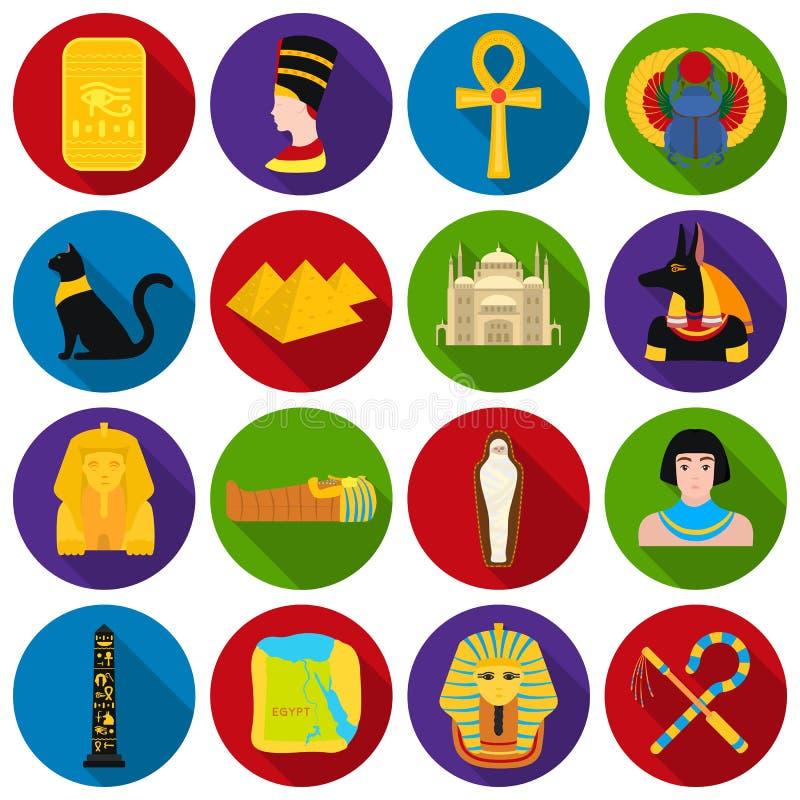 Forntida Egypten uppsättningsymboler i plan stil Stor samling av illustrationen för materiel för forntida Egypten vektorsymbol vektor illustrationer