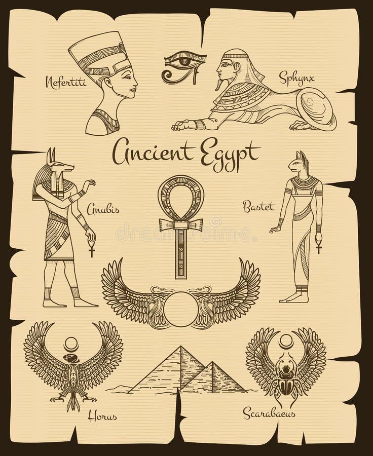 Forntida Egypten vektorsymboler royaltyfri illustrationer