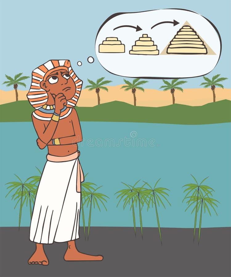 Forntida egyptisk arkitekt som uppfinner en pyramid stock illustrationer