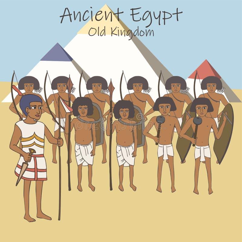 Forntida egyptisk armé av den gamla kungariketecknade filmen royaltyfri illustrationer