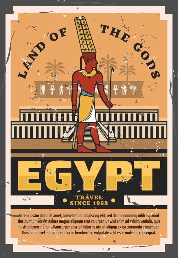 Forntida egyptisk farao Egypten lopp och turism stock illustrationer