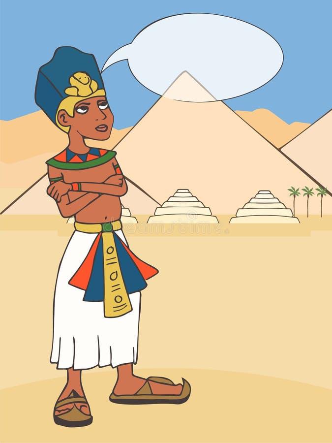 Forntida egyptisk farao på pyramidlandskaptecknade filmen royaltyfri illustrationer