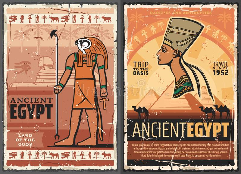 Forntida egyptisk faraosfinx, Horus, Nefertiti royaltyfri illustrationer