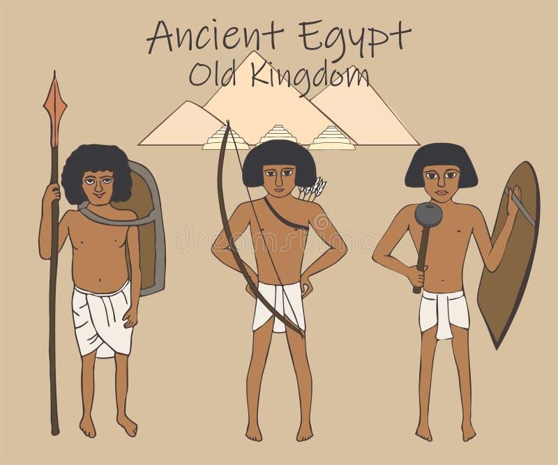Forntida egyptisk gammal kungarikebeväpningtecknad film stock illustrationer