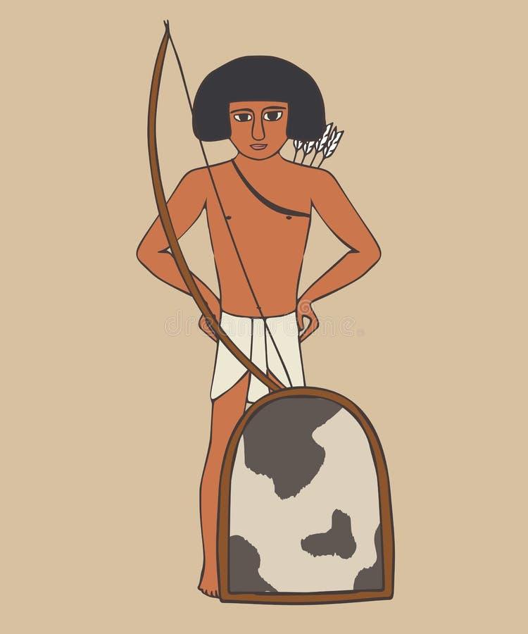 Forntida egyptisk gammal kungarikesoldat royaltyfri illustrationer
