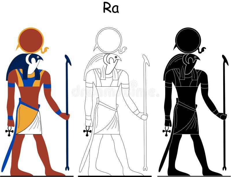 Forntida egyptisk gud - Ra royaltyfri illustrationer