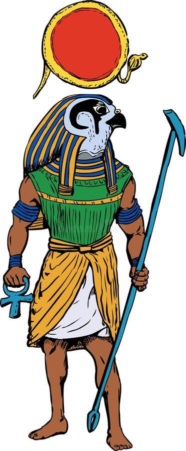 Forntida egyptisk gud Rah stock illustrationer