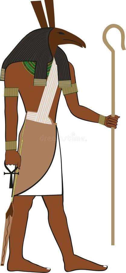 Forntida egyptisk gud Seth stock illustrationer