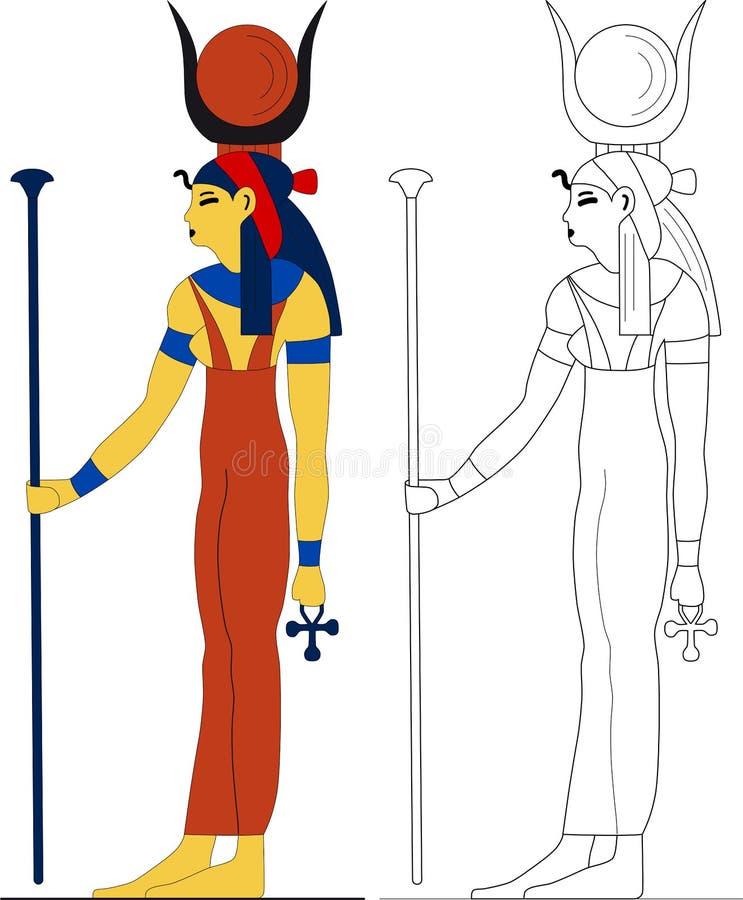 Forntida egyptisk gudinna - Hathor royaltyfri illustrationer