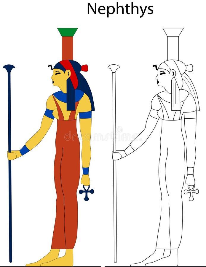 Forntida egyptisk gudinna - Nephthys vektor illustrationer