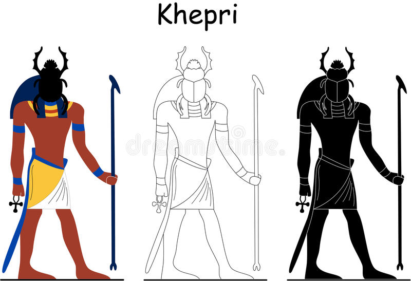 forntida egyptisk gudkhepri vektor illustrationer