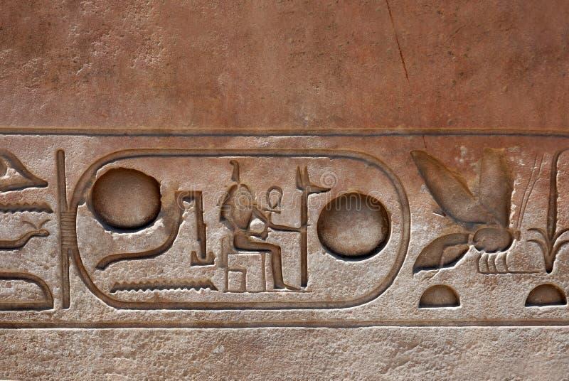 Forntida egyptisk hieroglyfer som snidas i sten royaltyfri fotografi