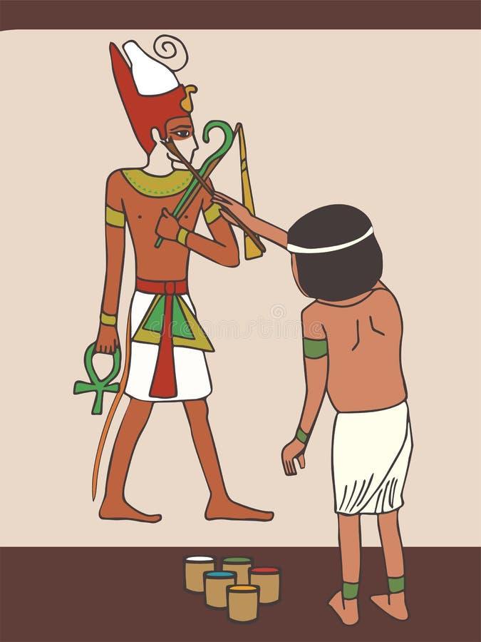 Forntida egyptisk konstnär på arbete royaltyfri illustrationer