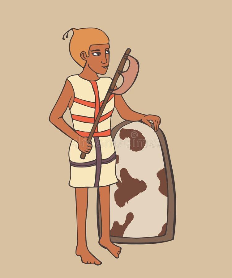 Forntida egyptisk krigare med slaktyxatecknade filmen royaltyfri illustrationer