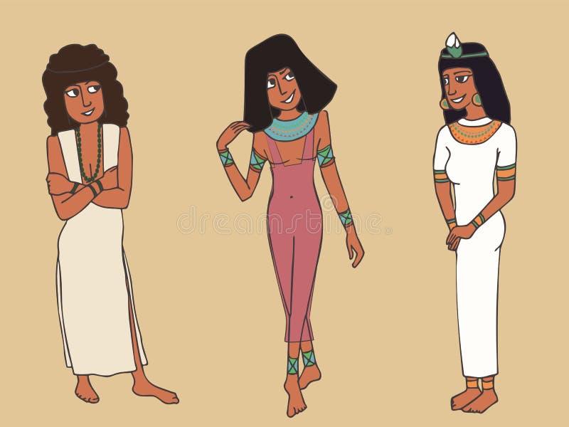 Forntida egyptisk kvinnlig modetecknad film royaltyfri illustrationer