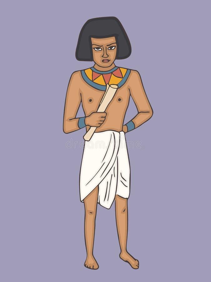 Forntida egyptisk man i tillfällig torkduketecknad film royaltyfri illustrationer