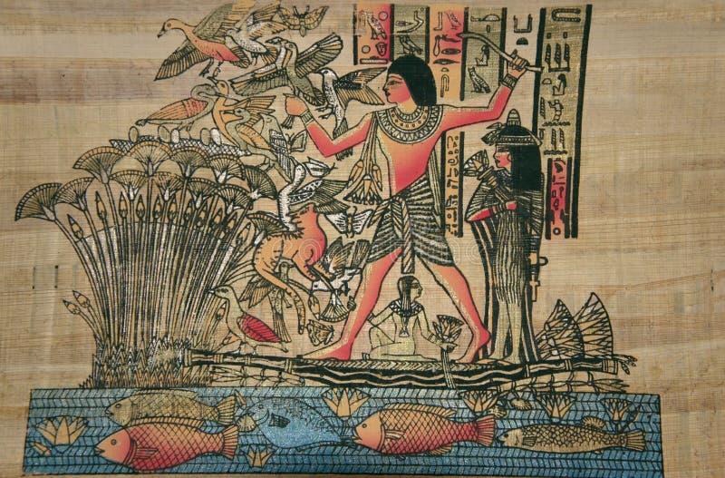 Forntida egyptisk papyrus. Den forntida egyptiska guden stock illustrationer