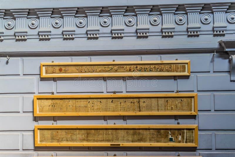 Forntida egyptisk papyrushandstil, museum av Kairo royaltyfri bild