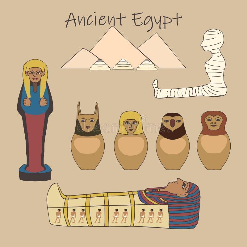 Forntida egyptisk uppsättning för jordfästningtillbehörtecknad film vektor illustrationer