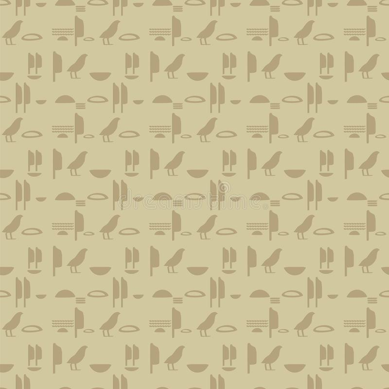 Forntida egyptisk vägg för hieroglyfefterföljdinskrifter av bruna sandsymboler av horisontallinjer sömlös vektormodell stock illustrationer