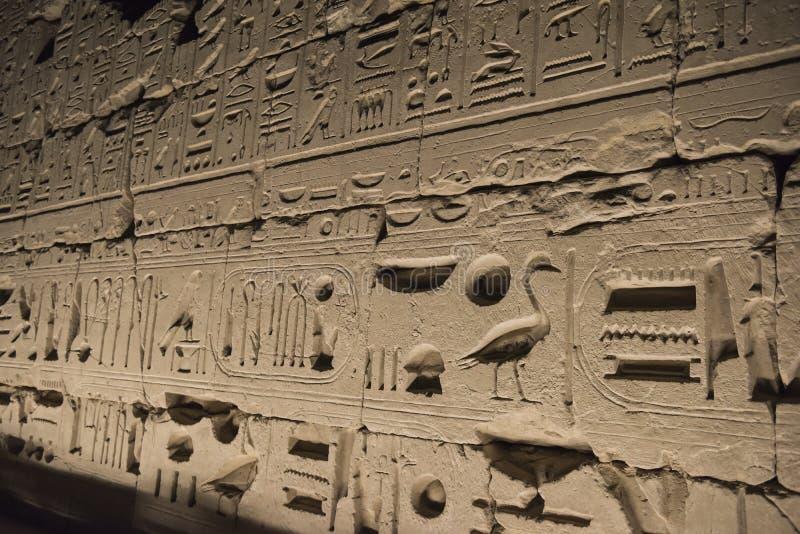 Forntida egyptisk vägg som täckas i hieroglyfer på den Karnak templet arkivbilder