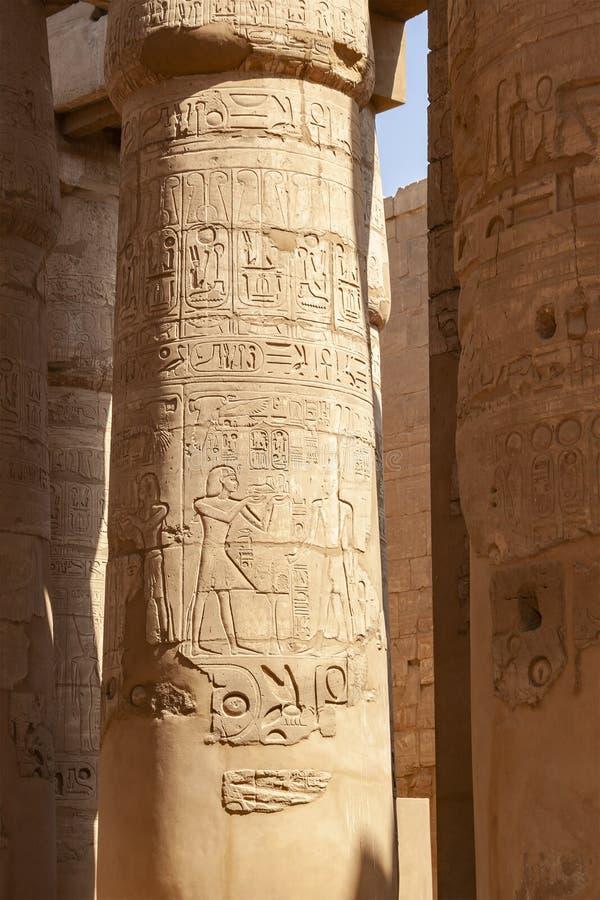 Forntida egyptiska carvings på tempelkolonner royaltyfri foto