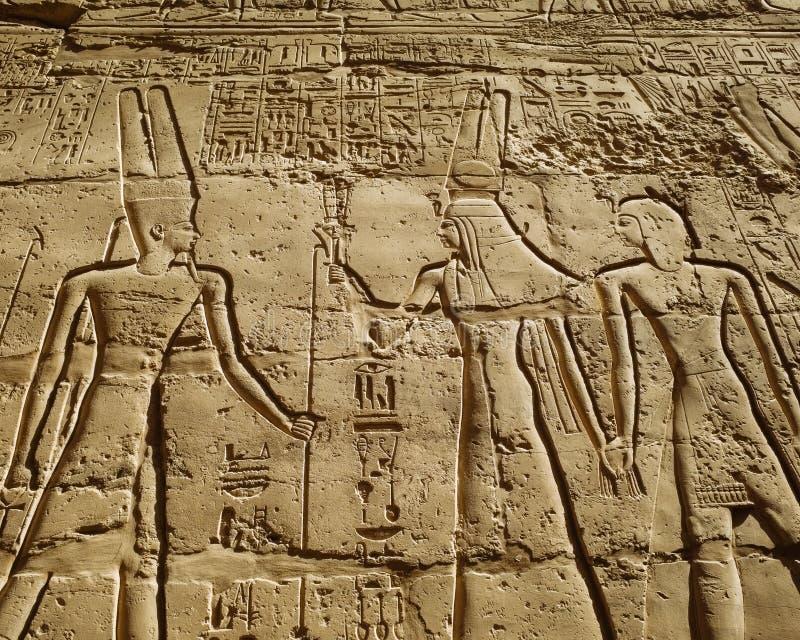 forntida egyptiska hieroglyphics royaltyfria bilder