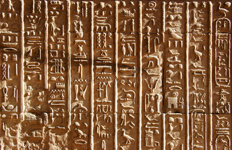 forntida egyptiska hieroglyphics fotografering för bildbyråer