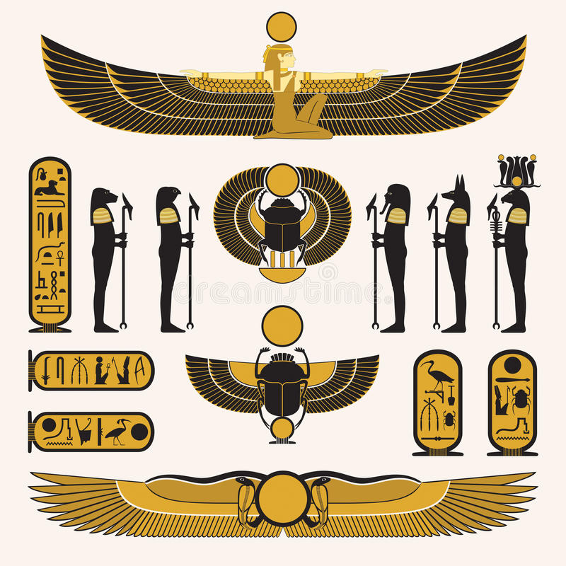 Forntida egyptiska symboler och garneringar vektor illustrationer