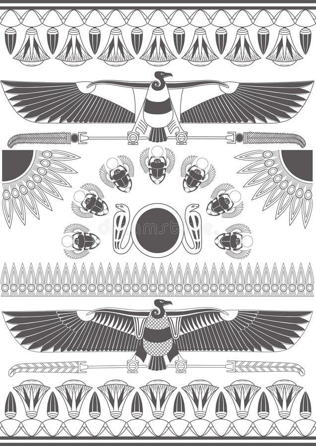 Forntida egyptiska v?ggm?lningar, skulpturer och modeller Forntida Egypten bakgrund monokrom vektor illustrationer