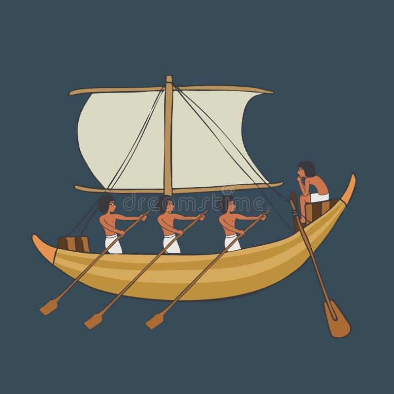 Forntida egyptiskt fartyg isolerad tecknad film stock illustrationer