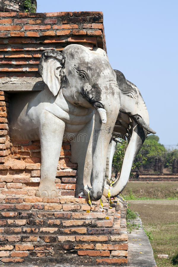 forntida elefantsiam tempel arkivbild