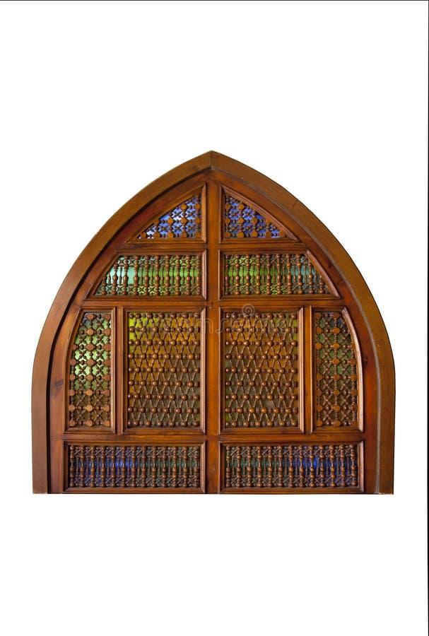 Forntida fönster med dekorativt raster royaltyfria bilder