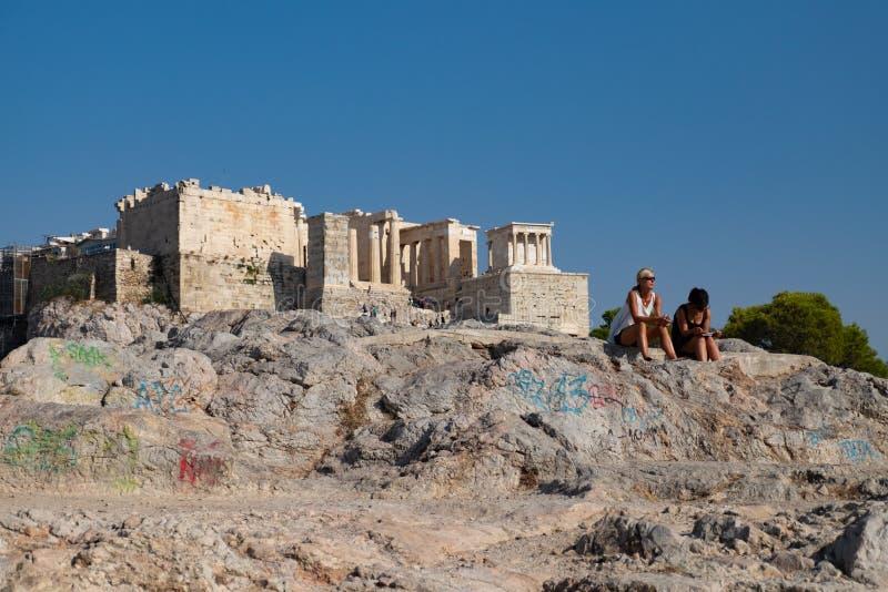 Forntida fördärvar av akropol arkivfoto