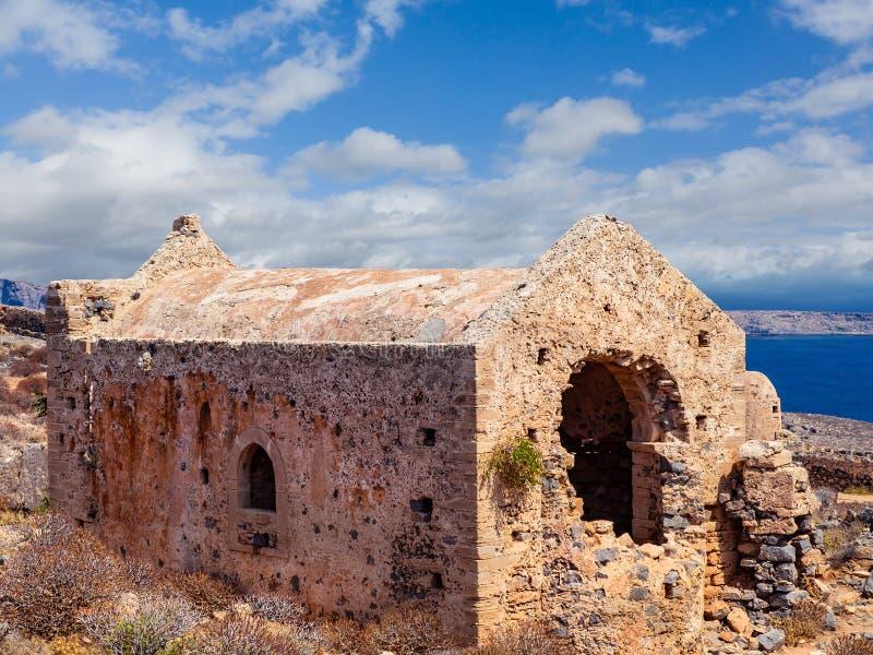 Forntida fördärvar av den tidiga kristna templet - Kreta, Grekland arkivbilder