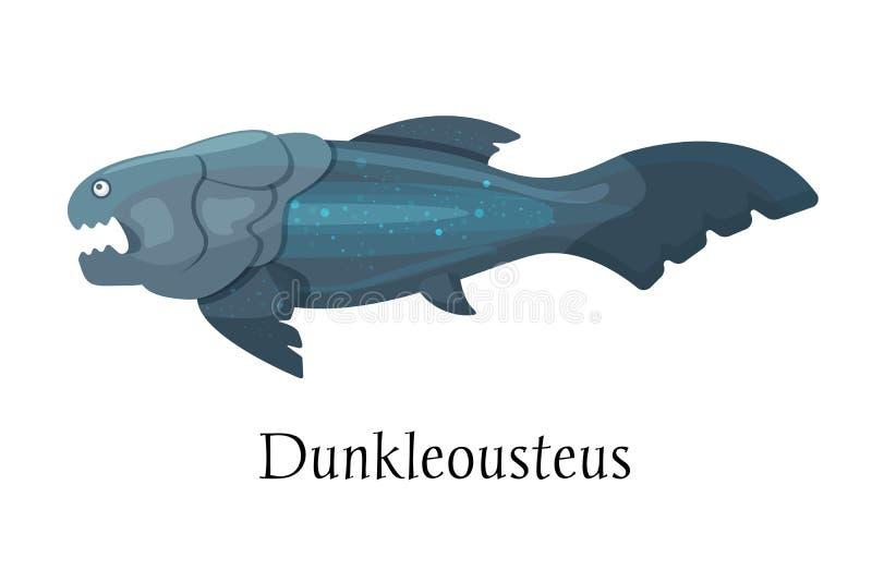 Forntida förhistorisk djur dinosaurie Lös Dunkleosteus för rov- djur för vatten fisk vektor illustrationer