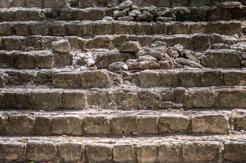 Forntida förstörda moment av en Mayan tempel royaltyfri fotografi