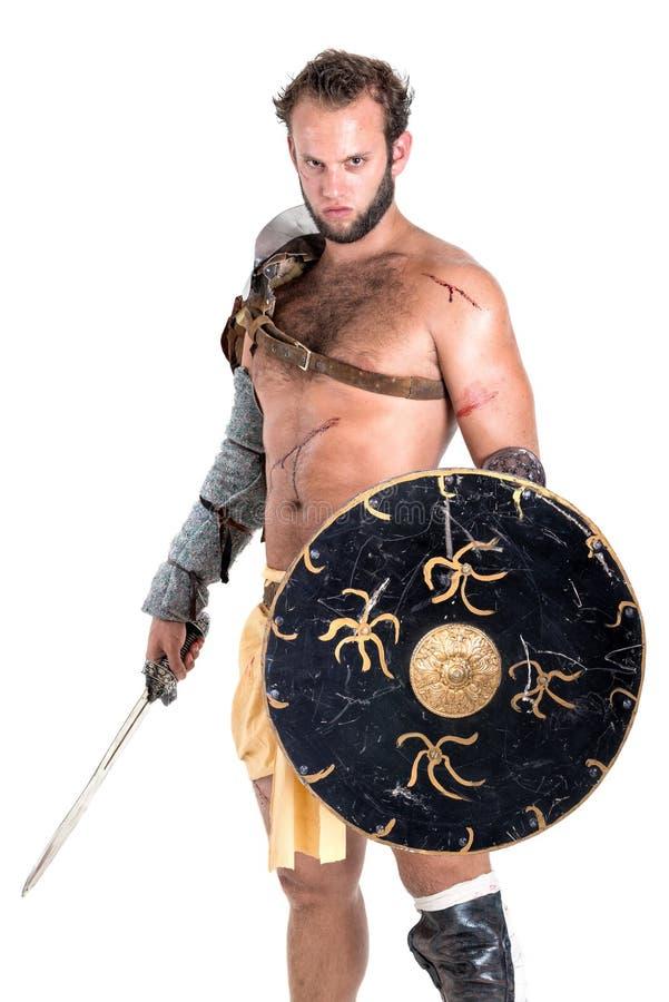 Forntida gladiator/isolerad krigare arkivbilder