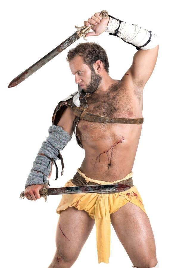 Forntida gladiator/isolerad krigare royaltyfria foton
