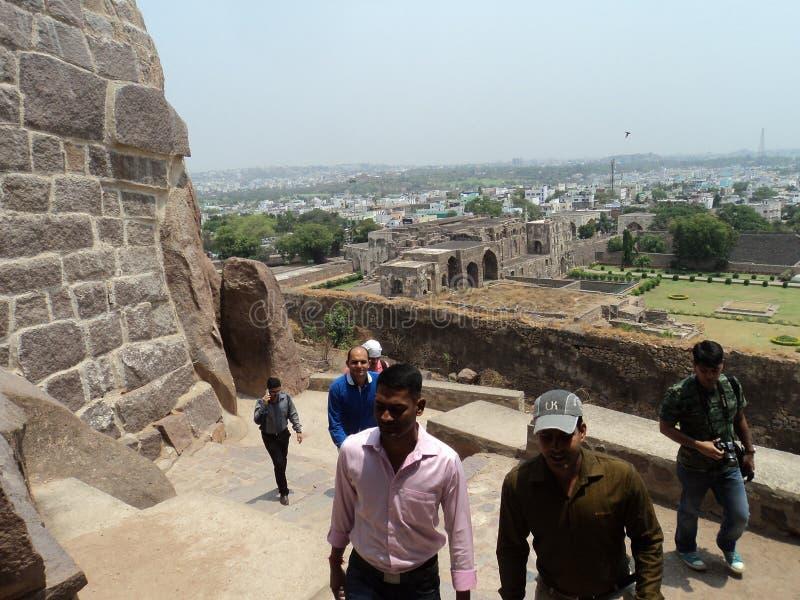 Forntida Golkonda fort fotografering för bildbyråer