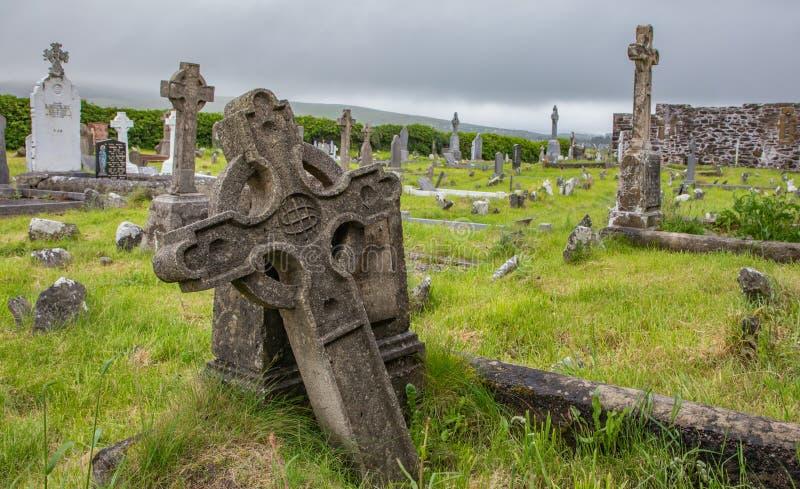 Forntida gravar och gravstenar med ljust - grönt gräs på Ballinskelligs Augustinian priorskloster i ståndsmässiga Kerry, Irland royaltyfri fotografi