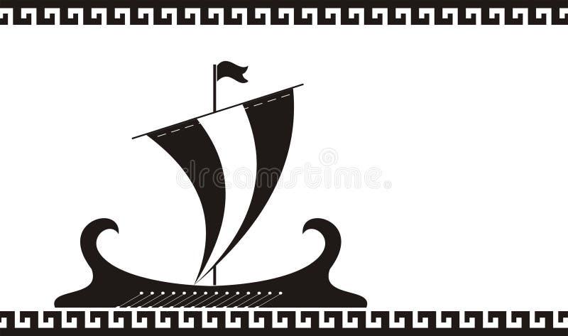 forntida greece shipsilhouette vektor illustrationer