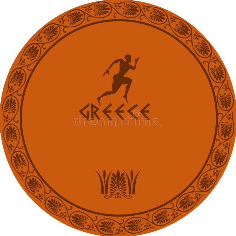 forntida grekisk platta stock illustrationer