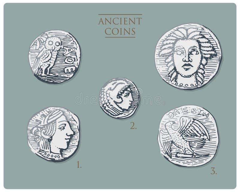 Forntida Grekland, silvermynt tetra drakma, medaljer med hercules, heracles för antika symboler och athena med ugglan, demetra vektor illustrationer