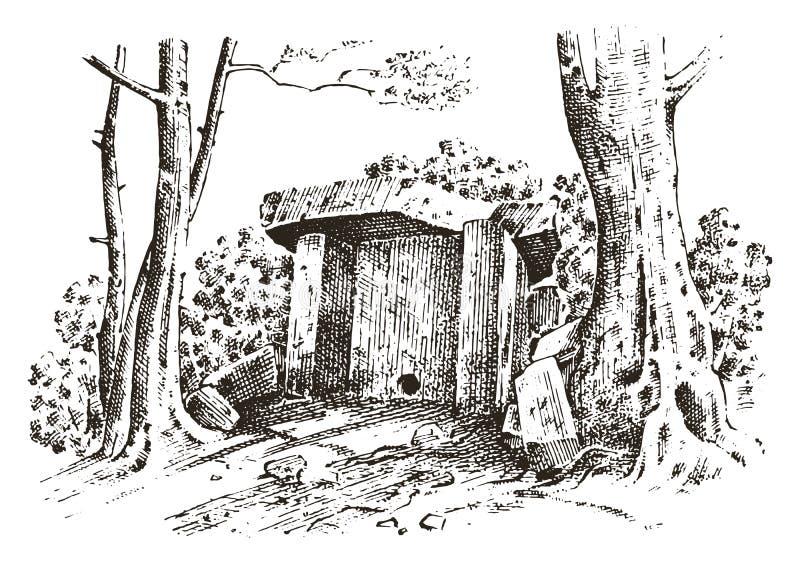 forntida grotta det förhistoriska huset av trä eller stenen vaggar med restna av en man solig dagskogliggande livsmiljö av urspru royaltyfri illustrationer