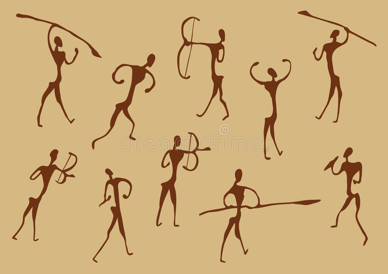 forntida grottateckningsjägare stock illustrationer