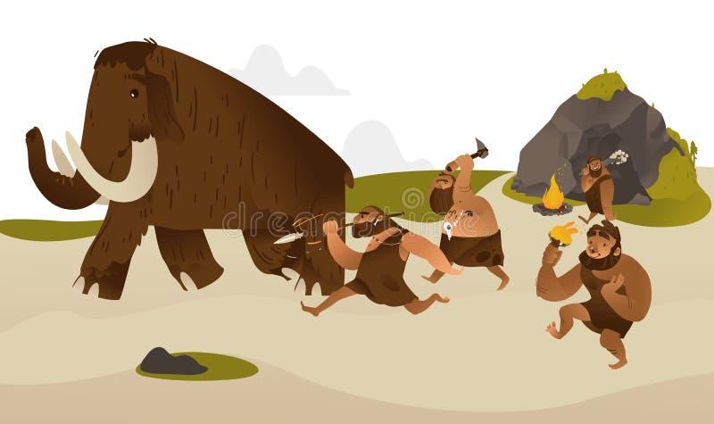Forntida grottmänniska med förhistoriska vapen som jagar för kolossalt vektor illustrationer
