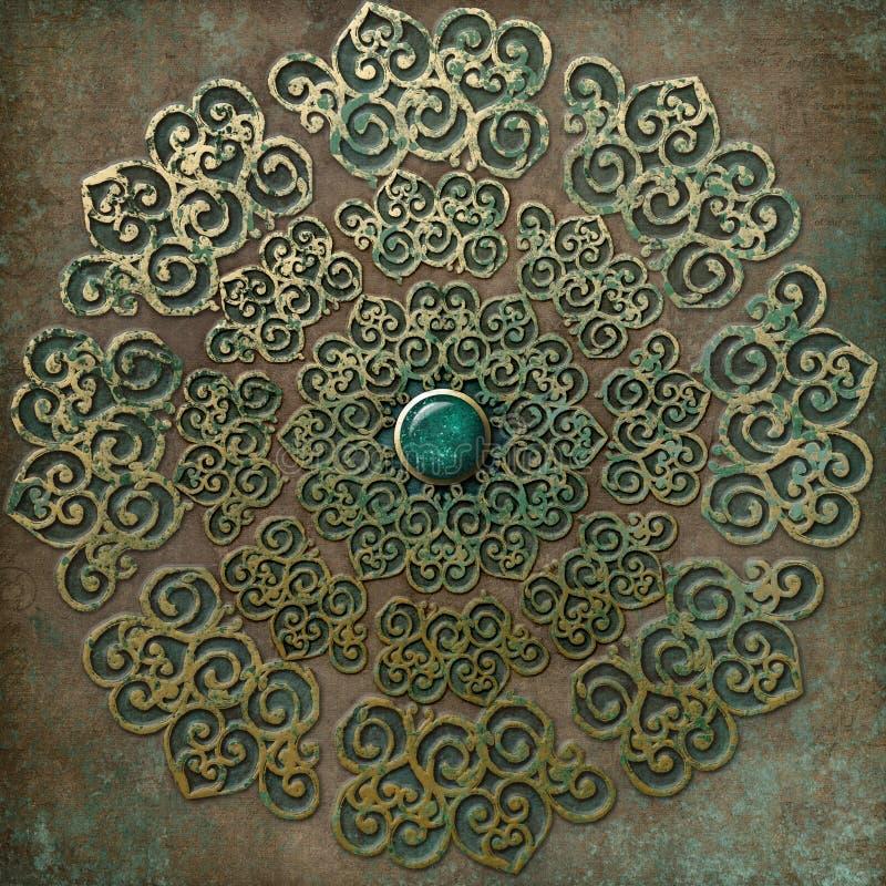 Forntida guld- mandala vektor illustrationer
