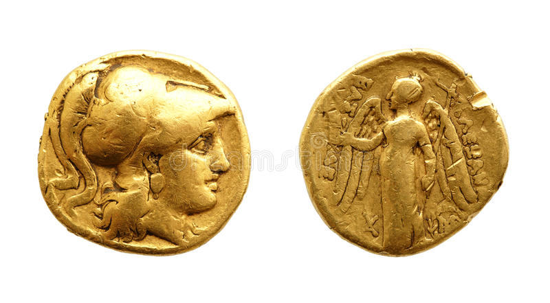 Forntida guld- myntar royaltyfri fotografi