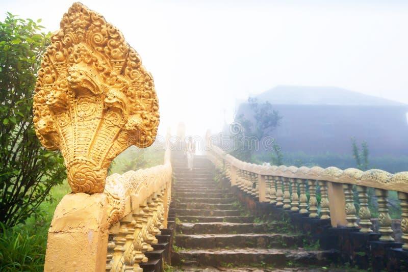 Forntida guld- Nagatrappa och buddistisk turist i blått dimmigt fotografering för bildbyråer